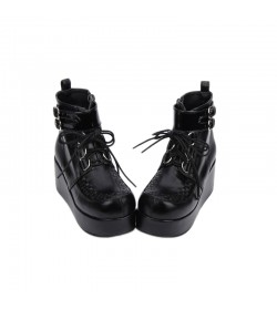 BOTTES NOIRES CREEPERS CUIR