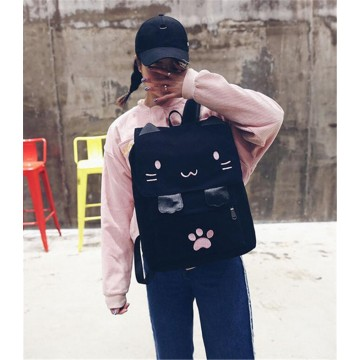 SAC A DOS CARTABLE ROSE NOIR CHAT