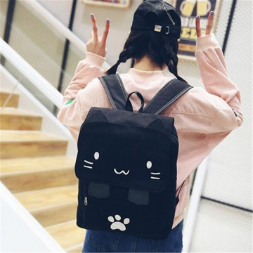 SAC A DOS CARTABLE BLANC NOIR CHAT