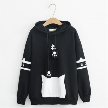 SWEAT CAPUCHE NOIR EPAIS OREILLE CHAT KAWAII