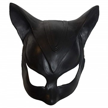 BONNET MASQUE LATEX CATWOMAN NOIR DEGUISEMENT