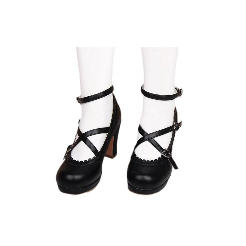 chaussures noires lolita talon 8cm avec une paire de chaussette montante black sugar. Black Bedroom Furniture Sets. Home Design Ideas