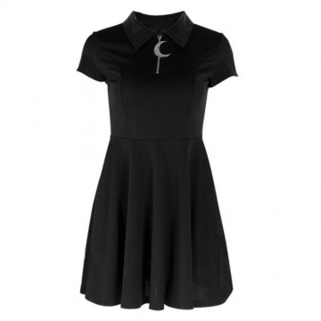 ROBE COL CUIR LUNE EXTENSIBLE