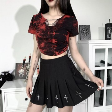 TOP GOTH ROUGE CHAINE FEMME