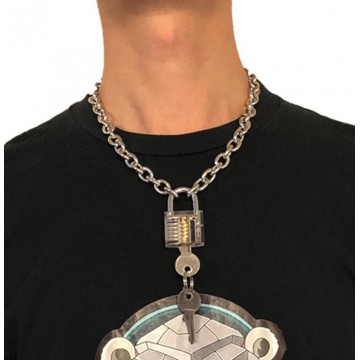 COLLIER MIXTE CADENAS TRANSPARENT CLES