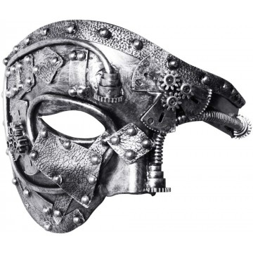 MASQUE MIXTE ENGRENAGE STEAMPUNK ARGENTE