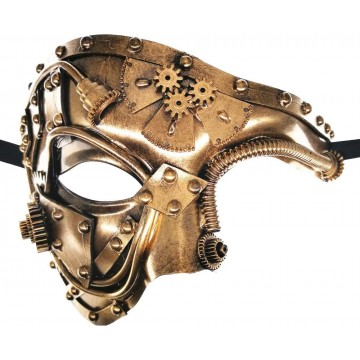 MASQUE MIXTE ENGRENAGE STEAMPUNK BRONZE