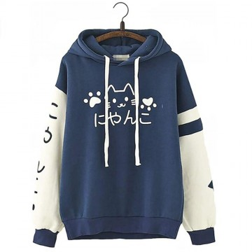 SWEAT CAPUCHE BLEU EPAIS CHAT KAWAII