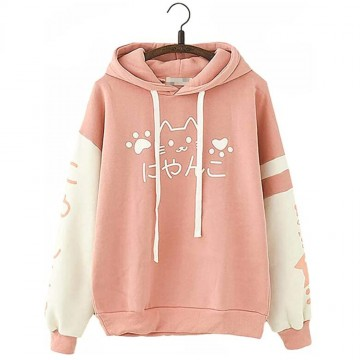 SWEAT CAPUCHE ROSE EPAIS CHAT KAWAII