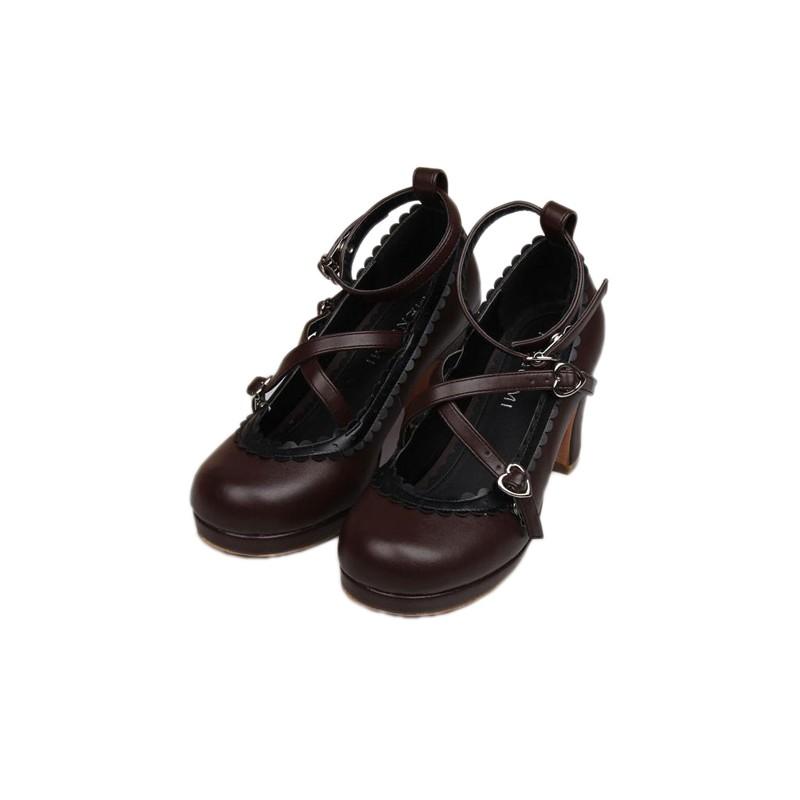 chaussures marrons lolita talon 8cm avec une paire de chaussette montante black sugar. Black Bedroom Furniture Sets. Home Design Ideas