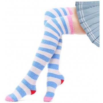 CHAUSSETTES MONTANTES RAYURES VELOURS CORAIL