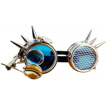 LUNETTES GOGGLES CYBER STEAM PUNK AVEC LOUPE