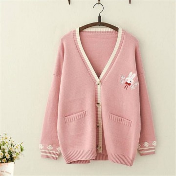 PULL FEMME LAPIN ROSE AUTOMNE HIVER