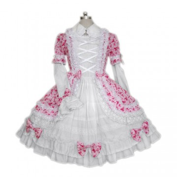 ROBE BLANCHE MOTIF NOEUDS PAPILLON ROSE KAWAÏ CORSAGE A LACETS