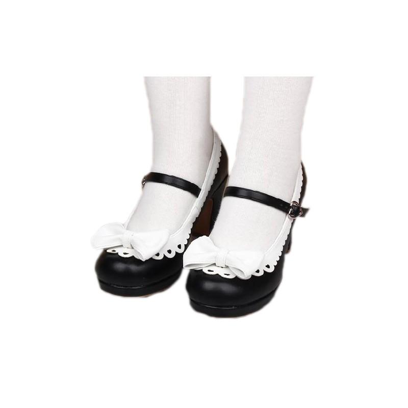 chaussures blanches et noires lolita talon 8cm avec une paire de chaussette montante black sugar. Black Bedroom Furniture Sets. Home Design Ideas
