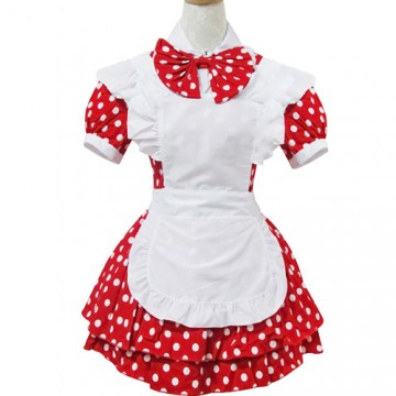 ROBE MAID ROUGE A POIS