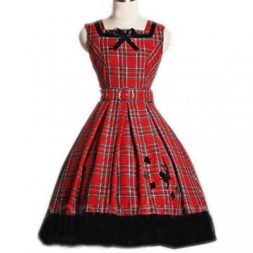 ROBE LOLITA ROUGE A CARREAUX
