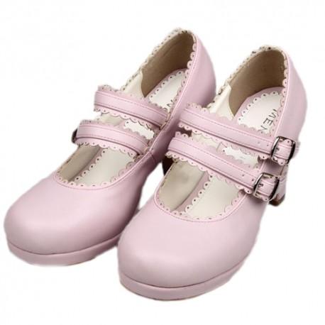 chaussures roses lolita talon 8cm avec une paire de chaussette montante black sugar. Black Bedroom Furniture Sets. Home Design Ideas