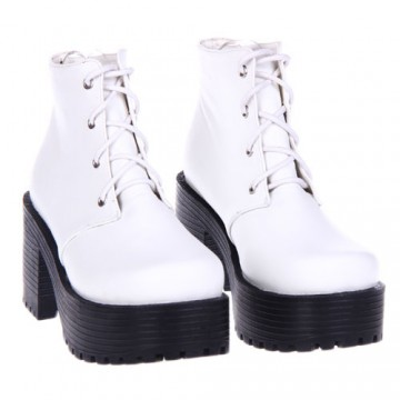 BOTTINES LOLITA BLANC TALON 8CM
