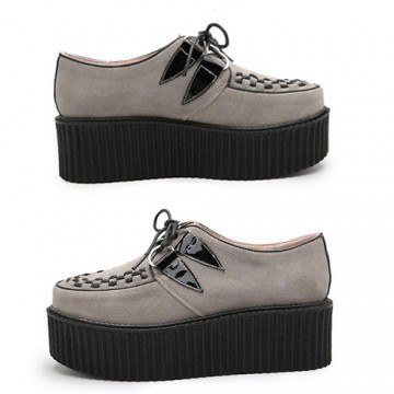 CREEPERS GRISES CUIR