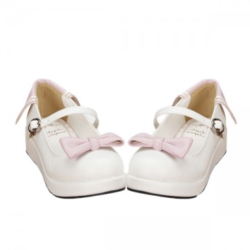 BALLERINES BLANCHES AVEC NOEUD ROSE