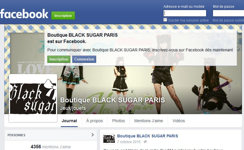 BLACK SUGAR joint facebook